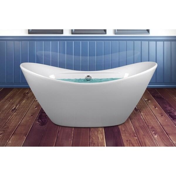Shop akdy bt0073 67 inch raised end europe style white for European steel enamel bathtub