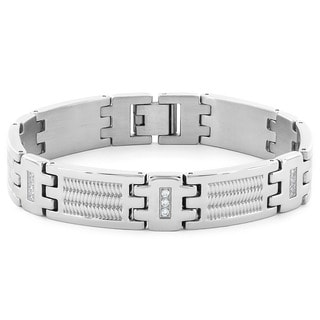 Crucible Stainless Steel Cubic Zirconia Textured Link Bracelet