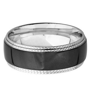 Men's Black Plated Polished Stainless Steel Ridged Comfort Fit Ring - 8mm Wide