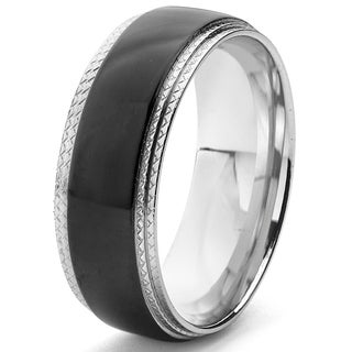 Men's Black Plated Stainless Steel Ridged Comfort Fit Ring (8mm)