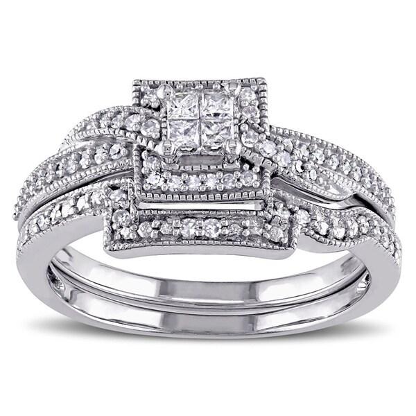 Miadora 10k White Gold 1/3ct TDW Princess Cut Diamond Bridal Ring Set