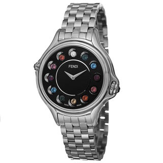 Fendi Women's F107031000T02 'CrazyCarats' Black Dial Stainless Steel Bracelet Quartz Watch