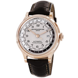 Baume & Mercier Men's MOA10107 'Capeland' Silver Dial Brown Leather Strap Rose Gold Worldtimer Watch