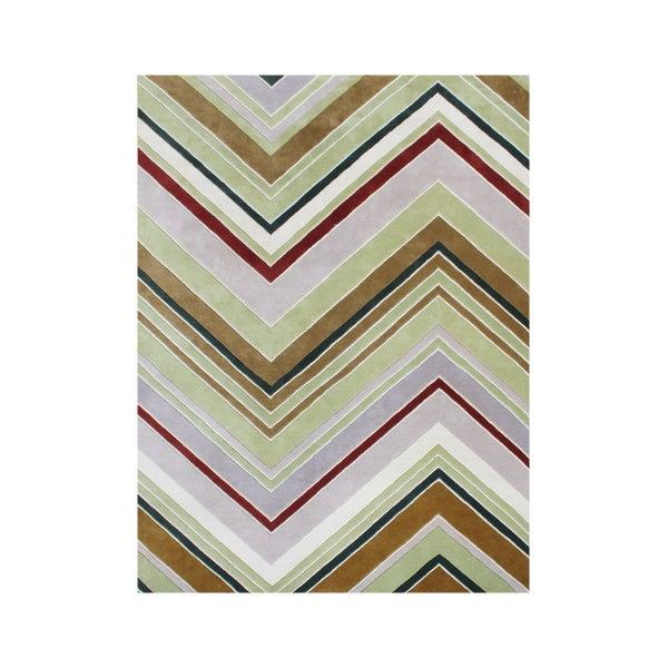 Handmade Alliyah Golden Green New Zealand Blended Wool Rug (8' x 10')