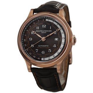 Baume & Mercier Men's MOA10136 'Capeland' Brown Dial Brown Leather Strap Rose Gold Worldtimer Watch