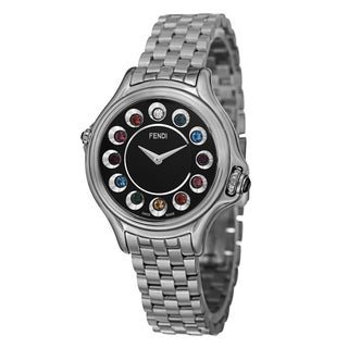 Fendi Women's F107021000T05 'CrazyCarats' Black Dial Stainless Steel Bracelet Quartz Watch