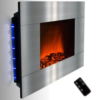 Golden Vantage 36-inch Stainless Steel Wall Mount Indoor Heater Electric Fireplace