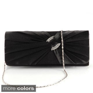 Anladia Women's Satin Diamante Pleated Evening Clutch