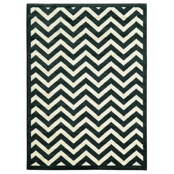 Linon Elegance Marble/ Black Area Rug (5' x 7'3)