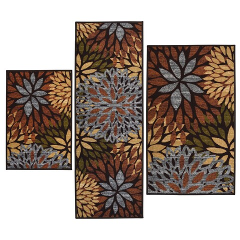 Cleopatra Brown Printed 3-piece Rug Set