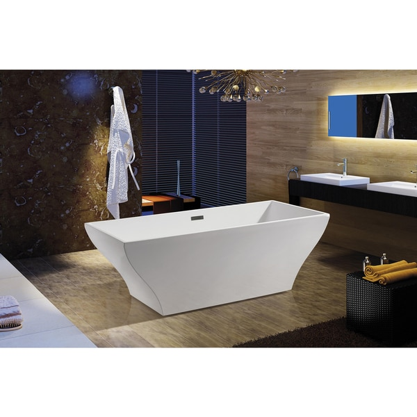 Shop akdy 67 inch osf296 a ak europe style white acrylic for European bathtubs