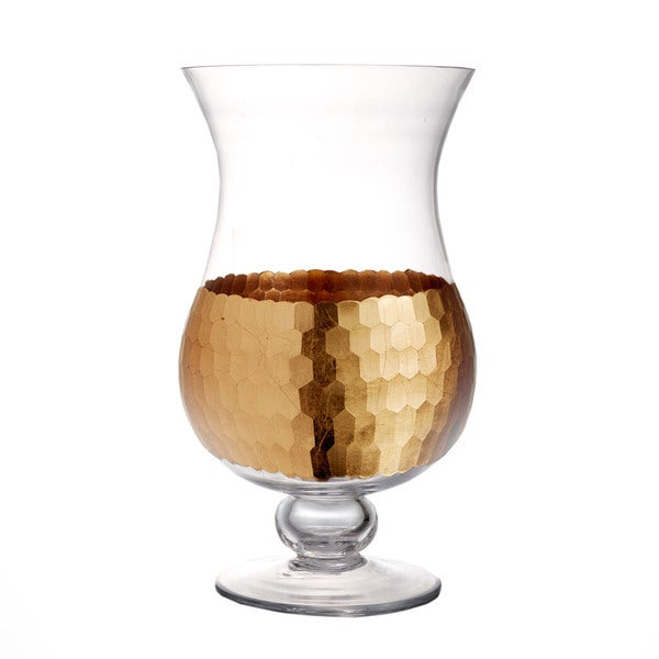 12.6-inch Daphne Gold Hurricane Candle Holder