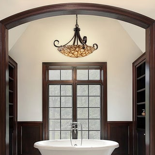 Justice Design Group 3Form Scrolls with Finials 6-light Pendant