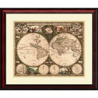 Old world map painting framed matted art free shipping today framed art print world map 1660 by ward maps 29 x gumiabroncs Image collections