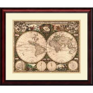 Framed Art Print 'World Map, 1660' by Ward Maps 29 x 25-inch