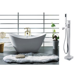 AKDY 67-inch OSF210+8733+AK Europe Style White Acrylic Free Standing Bathtub with Faucet