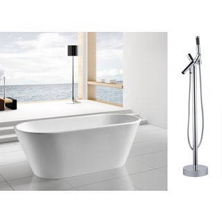 AKDY 67-inch OSF294+8711-AK Europe Style White Acrylic Free Standing Bathtub with Faucet