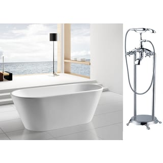 AKDY 67-inch OSF294+8713-AK Europe Style White Acrylic Free Standing Bathtub with Faucet