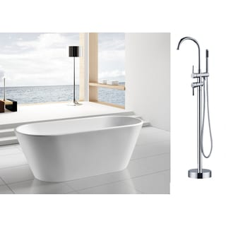AKDY 67-inch OSF294+8723-AK Europe Style White Acrylic Free Standing Bathtub with Faucet