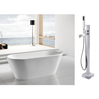 AKDY 67-inch OSF294+8733-AK Europe Style White Acrylic Free Standing Bathtub with Faucet