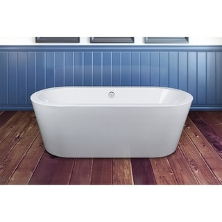 AKDY 71-inch OSF224+8711-AK Europe Style White Acrylic Free Standing Bathtub with Faucet