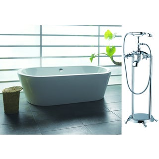 AKDY 71-inch OSF224+8713-AK Europe Style White Acrylic Free Standing Bathtub with Faucet