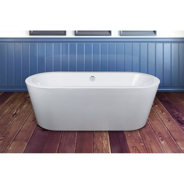 AKDY BT0069-TF0021 71-inch Europe Style White Acrylic Free Standing Bathtub with Faucet