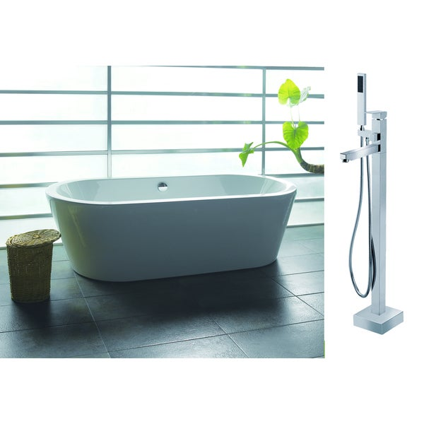 AKDY 71-inch Europe Style White Acrylic Free Standing Bathtub with ...