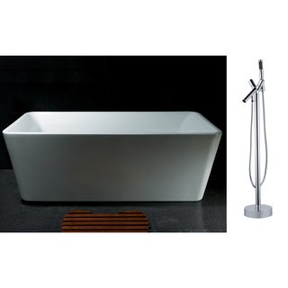 AKDY 67-inch OSF245+8711-AK Europe Style White Acrylic Free Standing Bathtub with Faucet