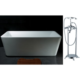 AKDY 67-inch OSF245+8713-AK Europe Style White Acrylic Free Standing Bathtub with Faucet