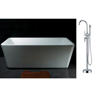 AKDY 67-inch OSF245+8723-AK Europe Style White Acrylic Free Standing Bathtub with Faucet
