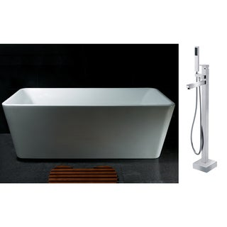 AKDY 67-inch OSF245+8733-AK Europe Style White Acrylic Free Standing Bathtub with Faucet