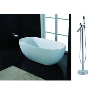 AKDY 67-inch OSF277+8711-AK Europe Style White Acrylic Free Standing Bathtub with Faucet