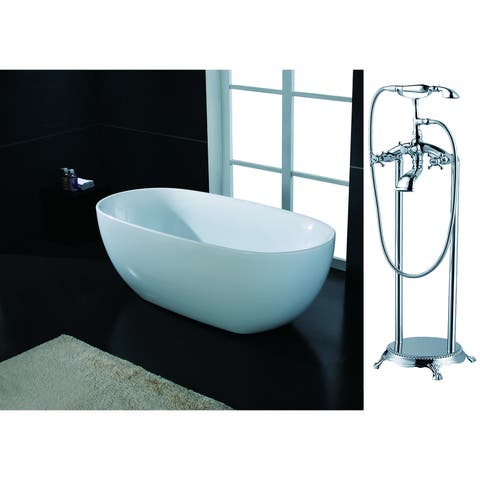 AKDY 67-inch OSF277+8713-AK Europe Style White Acrylic Free Standing Bathtub with Faucet