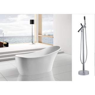 AKDY 63-inch OSF278+8711-AK Europe Style White Acrylic Free Standing Bathtub with Faucet