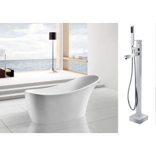 AKDY 63-inch OSF278+8733-AK Europe Style White Acrylic Free Standing Bathtub with Faucet