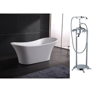 AKDY 71-inch OSF274+8713-AK Europe Style White Acrylic Free Standing Bathtub with Faucet