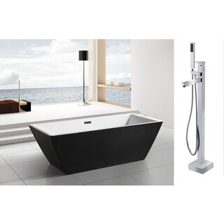 AKDY 70-inch OSF273+8733-AK Europe Style White Acrylic Free Standing Bathtub with Faucet