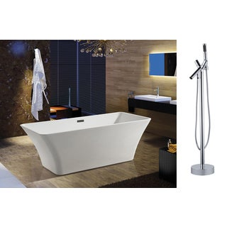 AKDY 67-inchOSF295+8711-AK Europe Style White Acrylic Free Standing Bathtub with Faucet