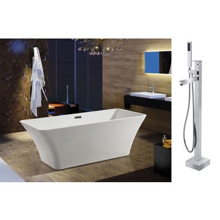 AKDY 67-inch OSF295+8733-AK Europe Style White Acrylic Free Standing Bathtub with Faucet