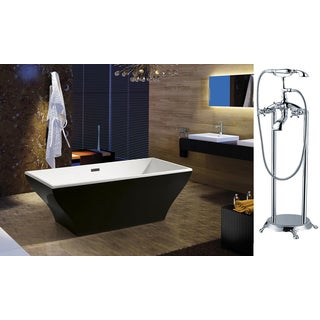 AKDY 67-inch OSF296-B+8713-AK Europe Style White Acrylic Free Standing Bathtub with Faucet