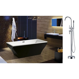 AKDY 67-inch OSF296-B+8723-AK Europe Style White Acrylic Free Standing Bathtub with Faucet