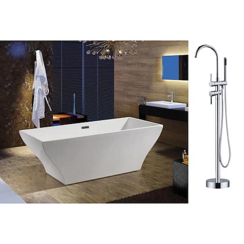 AKDY 67-inch OSF296-A+8723-AK Europe Style White Acrylic Free Standing Bathtub w/ Faucet