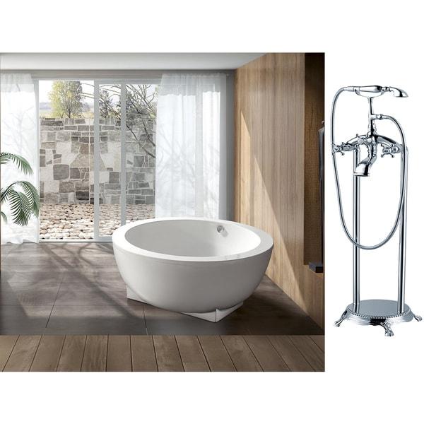 Akdy 60 Inch European Style White Acrylic Free Standing Bathtub