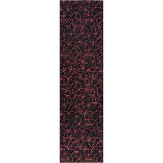 M.A.Trading Hand-tufted Madeira Black/ Red New Zealand Wool Rug (2'8 x 7'10) (India)