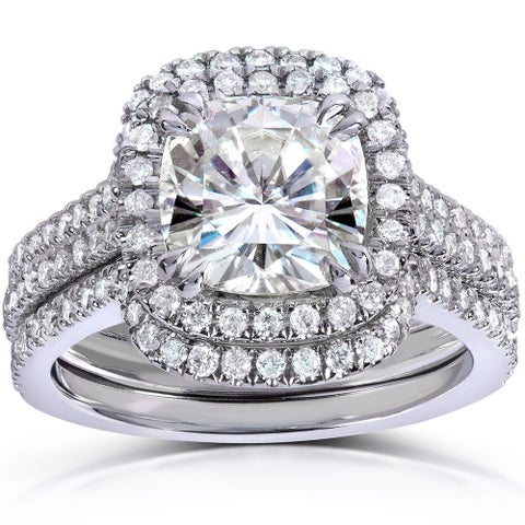 Annello by Kobelli 14k White Gold 2 5/8ct TGW Cushion-cut Moissanite and Diamond Halo Bridal Rings Set (3 Piece Set)