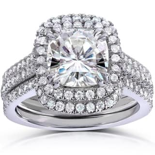 annello by kobelli 14k white gold 2 58ct tgw cushion cut moissanite - Wedding Set Rings