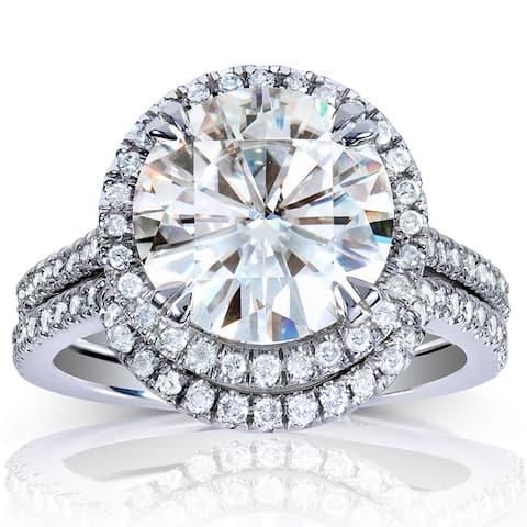 Annello by Kobelli 14k White Gold 3 1/2 Round-cut Moissanite and Halo Diamond Bridal Set