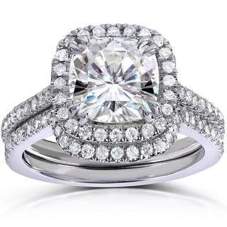 Annello by Kobelli 14k White Gold 2 1/2ct TGW Cushion-cut Moissanite and Diamond Halo Bridal Rings Set (2 Piece Set)