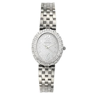 Croton Women's CN207507SSMP Stainless Steel Silvertone Diamond Bezel Watch